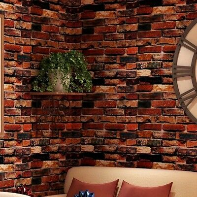 Red Brick Wallpaper 3D Roll Retro Stone Brick Wall Background Textured Art Home