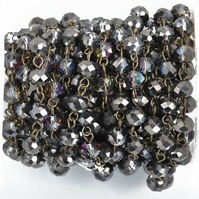 1yd Smoky Grey AB Crystal Rondelle Rosary Chain, bronze, 8mm beads fch0849a