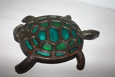 Antique/vintage Metal Turtle Colectible From Japan Pretty Green On Shell 7 3/4""
