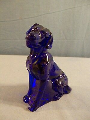 Mosser Cobalt Blue Glass Lab Labrador Dog Figurine