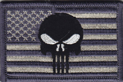 USA FLAG w/PUNISHER SKULL (GRAY/TAN) - ARMY - COMBAT - MORALE- IRON ON PATCH
