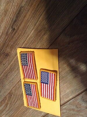 3 Lot Velcro US Military Issue American Flag Uniform Patch Reversed