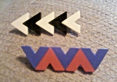 Two Vintage Hair Clips / Barrettes 1 Black Off White /1 Red Purple Arrows or V's