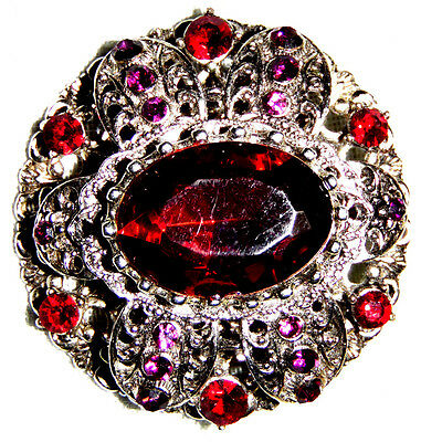 Vintage Victorian Silver Tone Amethyst With Red Ruby Color Crystal Pin Brooch