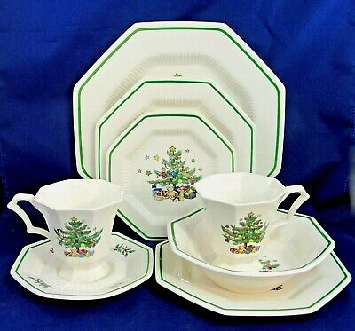 Nikko Christmastime Tree Lot of 4 Plates 1 Saucer 1 Bowl 2 Cups (8 Piece Set)