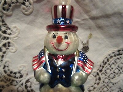 NEW Dept 56 Patriotic Snowman Glass Christmas Ornament Red White Blue Gift