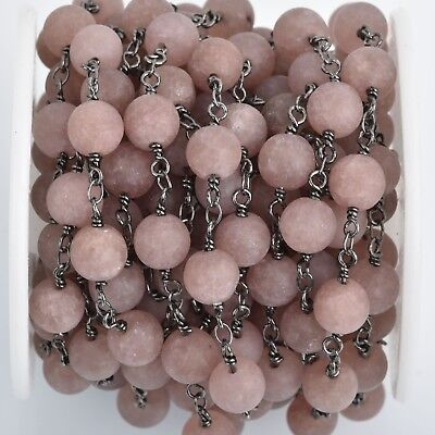 3ft Matte PLUM JADE Gemstone Rosary Chain, gunmetal double wrap, 8mm fch0862a