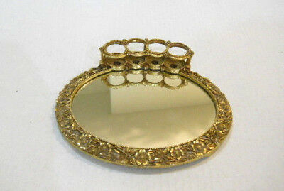 Vintage Gold Floral Lipstick Holder With Mirror Make Up Table Accessory