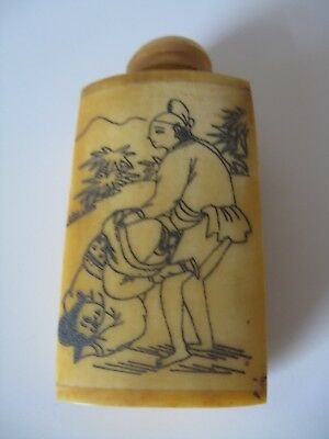 Vintage  chinese Carved Cattle Bone Erotic Snuff Bottle