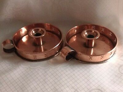 Arts and crafts copper candle holders