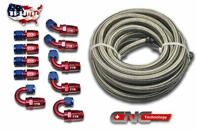 20FT AN8 Stainless Steel Braided Fuel 10 Fittings Hose End Adaptor Kit Swivel