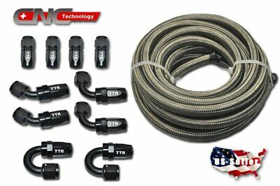 20FT AN10 Stainless Steel Braided Fuel Line 10 Fitting Hose End Kit Swivel Black