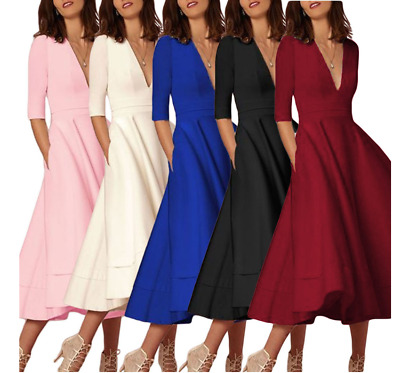 European and American Fashion Solid Color V-neck Dress Formal Wear Party Wear