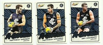 2018 afl select FOOTY STARS CARLTON A GRADERS TEAM SET 3 CARDS