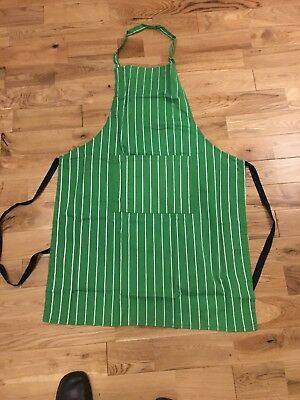 Classic Butchers Stripe Adult Apron Green