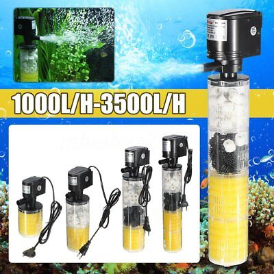 1000-3500L/H Submersible Water Internal Filter Pump For Aquarium Fish Tank Pond^