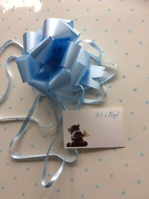 Cellophane gift wrap 5m x 80 cm-Blue Baby Shower Boy Birth 3 PULL BOWS & CARDS