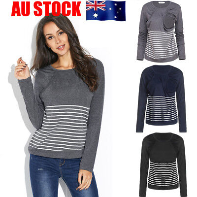 Womens Striped Maternity Blouse Patchwork Nursing Clothes Breastfeeding T-shirt
