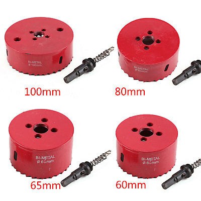 60-100mm M42 Metal Hole Saw Holesaw Arbor Pilot Drill Bit Wood Plastic + Rod