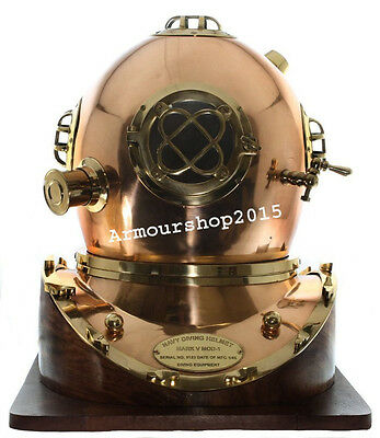 Full-Size Replica US Navy Mark V Brass Diving Helmet Wood Base