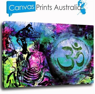Buddha Print On Stretched Canvas Prints Wall Purple Art Abstract Decor Framed