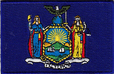 NEW YORK STATE FLAG - Iron On Embroidered Patch /Flag of New York