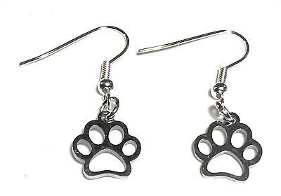 Dog cat paw dangly drop earrings with silver plated ear wires in gift box