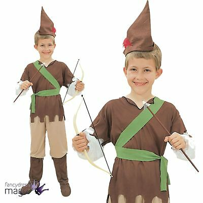 Boys Robin Hood Fancy Dress Costume Outfit Medieval Hunter Childs Book Day Week