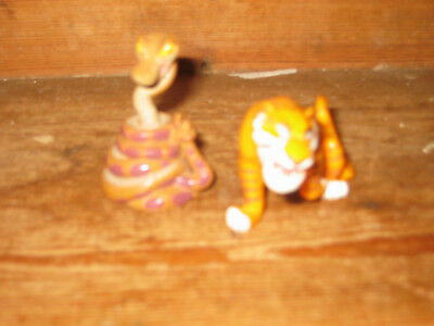 Disney Jungle Book Play Figures X2 Shere Khan Tiger King Kaa Indian Rock Python