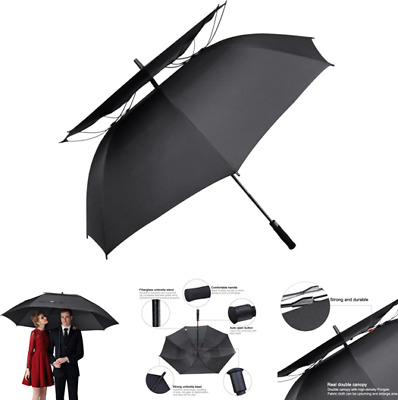 Double Canopy Vented Windproof Golf Umbrella 62 Inch Automatic Open Large Black