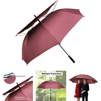 Double Canopy Vented Windproof Golf Umbrella 62 Inch Waterproof Stick Wine Red
