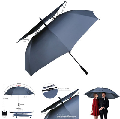 Double Canopy Vented Windproof Golf Umbrella 62 Inch Large Waterproof Stick Blue
