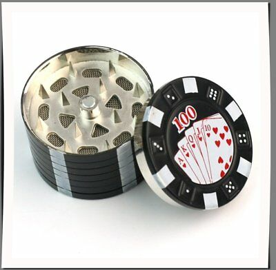 Metal Herb Grinder Casino Style 3 Layers Tobacco Spice Poker Chip Crusher