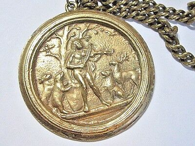 Vintage Necklace Heavy Medallion Man Playing Violin In Forest W Animals Artsy