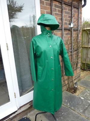 Vintage Rukka Green PVC Mac Overcoat, Quilted Lining Size 34, Waterproof