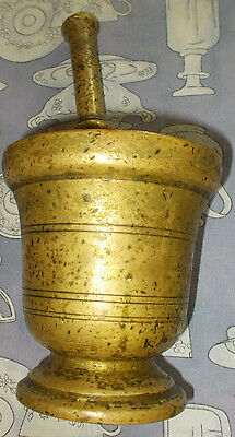 Antique Brass Bronze Mortar & Pestle