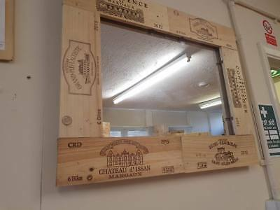 Handmade French Wooden WINE BOX MIRROR made from Reclaimed wine box end panels