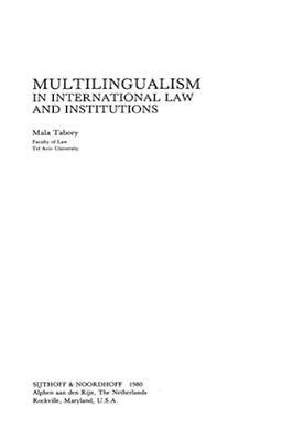 NEW Multilingualism In International Law And Institutions by... BOOK (Hardback)