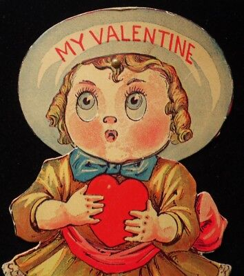 Buster Brown Antique Mechanical Valentine Girl in Yellow Dress with Dog Die Cut