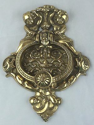 "Putti angels and north wind brass door knocker large 10"" heavy brass angel"