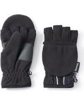 NEW Tek Gear Warm Tek Boy's Black Convertible Hybrid Fleece Gloves, Size M/L