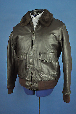 Vintage Cabela's Brown Leather Shearling Lined Bomber Jacket Size 42 Made In USA
