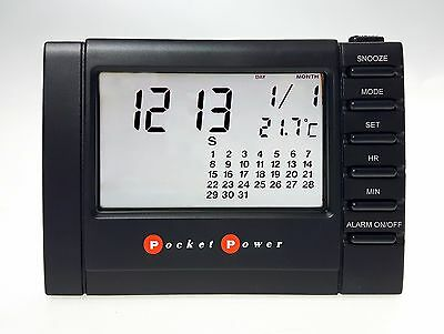 Alarm Clock Travel with Screen LCD Clear Pocket Power PP7139