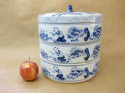 Vintage Chinese Ceramic Stacking Dishes / Boxes ~ Blue & White ~ 3-Tier
