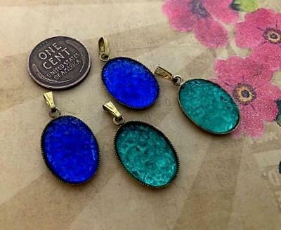 Vintage 14 x 22mm Raised Textured Blue Green Lucite Cab Charms Pendants 4