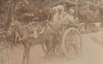 Northern India; View of Ekka (1 Horse Carriage) RP PPC, Unposted, c 1910's