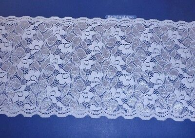 1.90 m   of   Double Sided   White  Stretch   lace   Pretty Sheen    15 cm  Wide