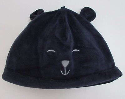 Baby Boy's Hat Navy Mix Velour Marks & Spencer 100% Cotton Lined 0-6 6-12 Months