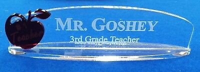 Personalized .250 Acrylic Glass NAME PLATE BAR Desk Teacher Gift Free Shipping