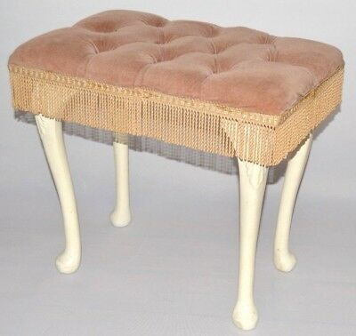 Vintage Dressing Table Chair Vanity Stool with Pink & White Upholstered Tassles